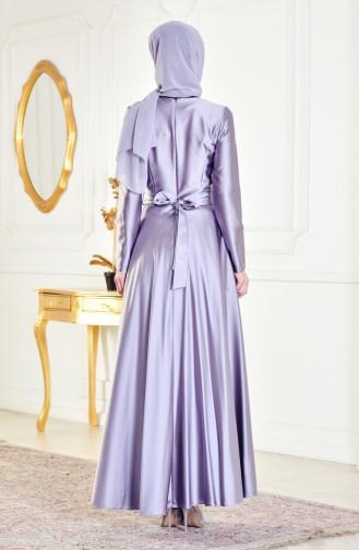 Belted Evening Dress 0440-02 Gray 0440-02