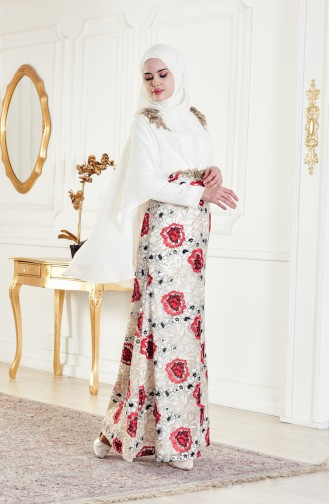 Red Islamic Clothing Evening Dress 8282-02