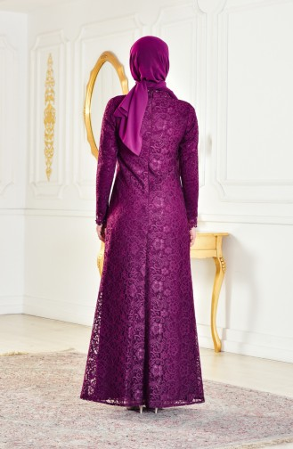فستان بتصميم ياقة سبعة مزين الدانتيل 1165-04 لون ارجواني 1165-04