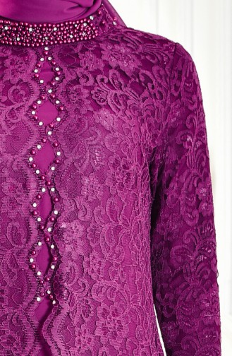 Robe de Soirée a Dentelle 1165-04 Plum 1165-04
