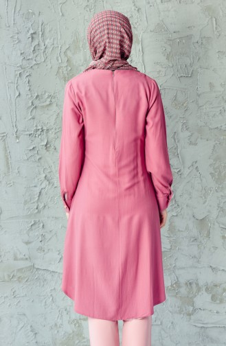 Pleats Details Buttoned Tunic 1072-17 Pink 1072-17