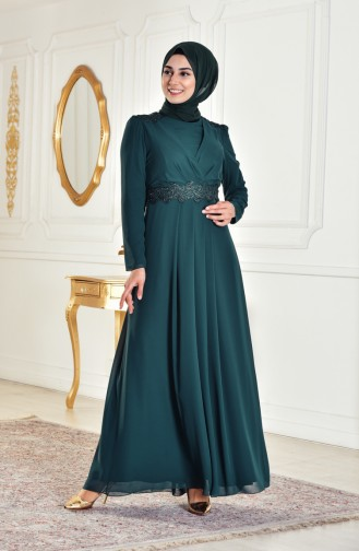 Laced Evening Dress 1282-03 Emerald Green 1282-03