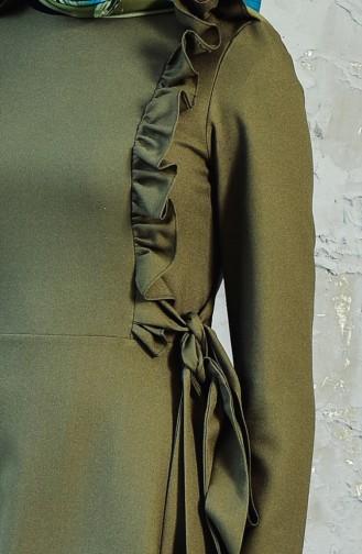 Fırfırlı Elbise 0197-06 Haki