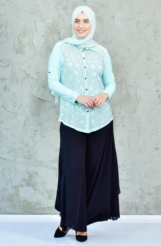 Large Size Stone Printed Shirt 3608A-02 Mint Green 3608A-02