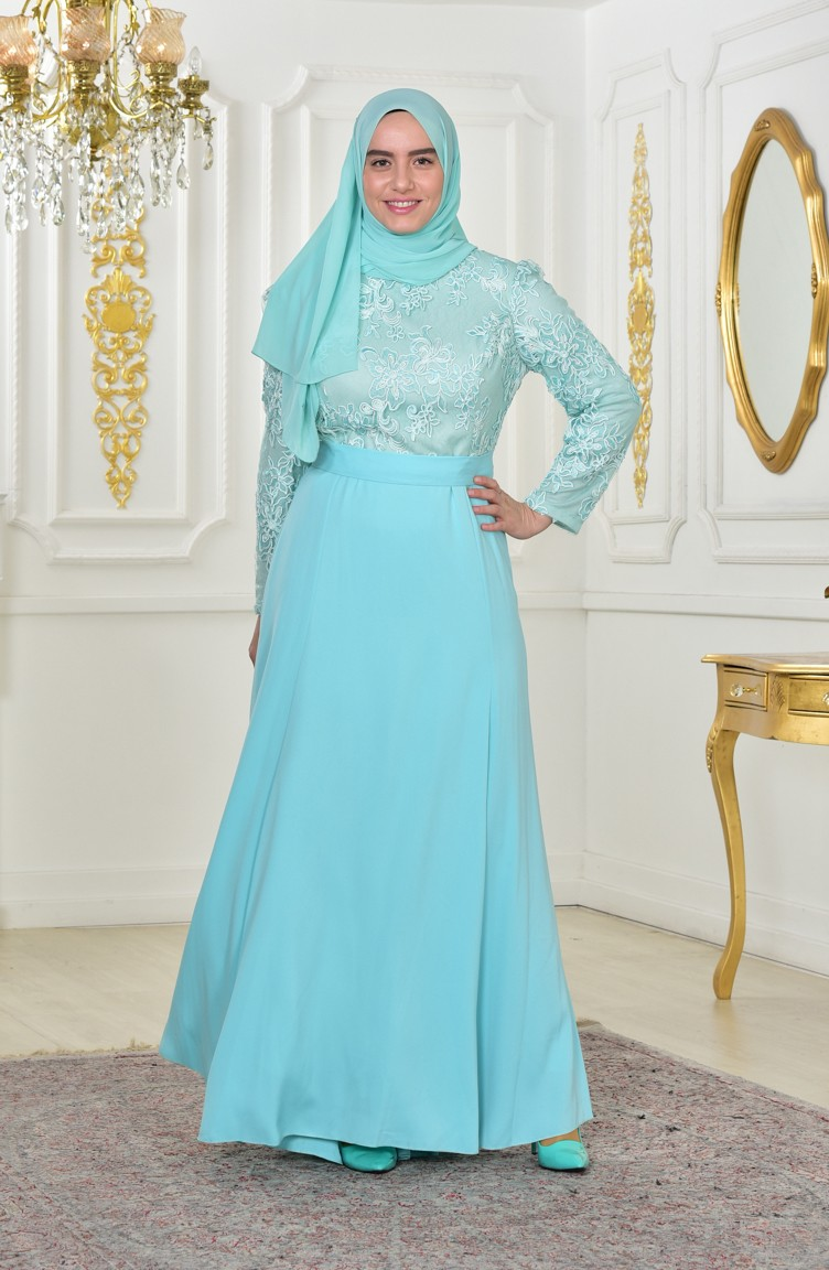 Plus Size Lace Belted Evening Dress 701179-02 Mint Green 701179-02