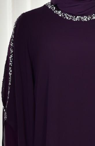 Büyük Beden Taşlı Abiye Elbise 4007-01 Mor 4007-01