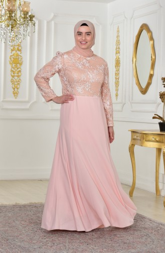 Plus Size Lace Belted Evening Dress 701179-01 Salmon 701179-01