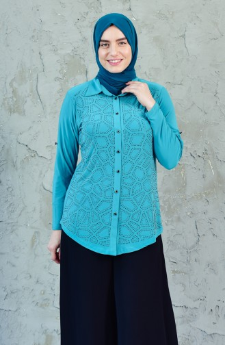 Large Size Stone Printed Shirt 3608A-01 Green 3608A-01