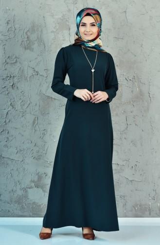 فستان بتصميم سادة مع سلسال 4082-07