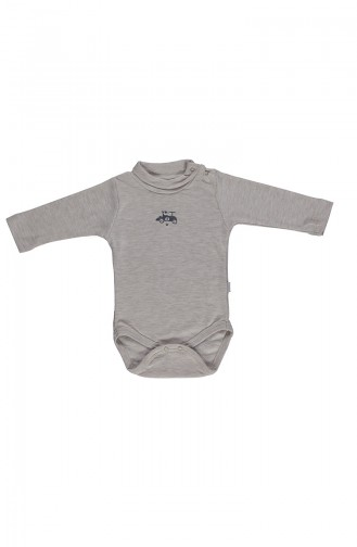 Bebetto long sleeve Spool Collar Baby Bodysuit T1601-01 Beige 1601-01
