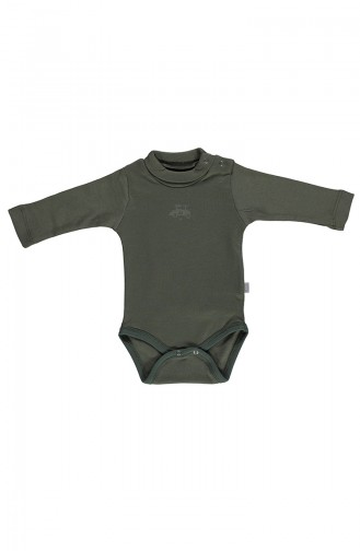 Bebetto long sleeve Spool Collar Baby Bodysuit T1601-02 Khaki 1601-02