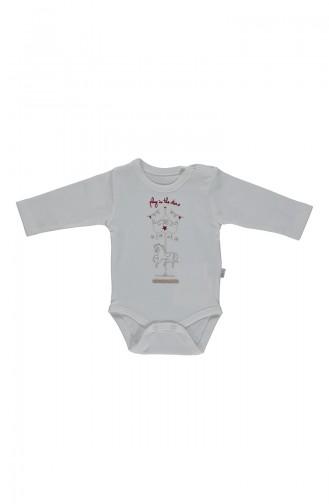 Bebetto Combed long sleeve Baby Bodysuit T1695-01 Beige 1695-01