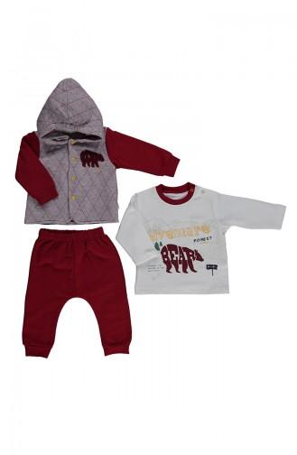 ببيتو طقم سترة أطفال بتصميم مُبطن من ثلاثة قطع K1964-01 لون أحمر 1964-01