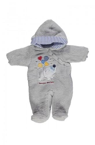 ببيتو افرول اطفال بتصميم من قماش البشكير الناعم K1997-02 لون رمادي 1997-02