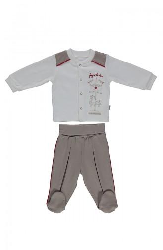 ببيتو طقم بيجامة أطفال بتصميم قطن F990-01 لون بيج 990-01