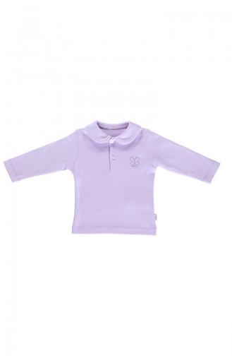 ببيتو بلوز اطفال قطن بتصميم ياقة بازرار K2012-04 لون ليلكي 2012-04