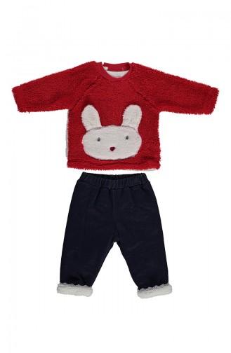 ببيتو  طقم أطفال قماش بشكير بتصميم قطعتين K1993-01 لون أحمر 1993-01