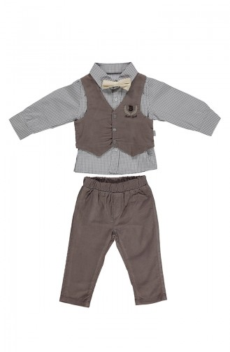 ببيتو طقم أطفال بتصميم كوردروي من 4 قطع K1935-01 لون بيج 1935-01