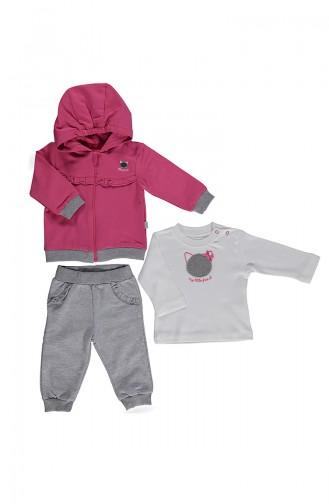 Bebetto Baby Cotton Track Suit 3 Pcs K2016-01 Fuchsia 2016-01