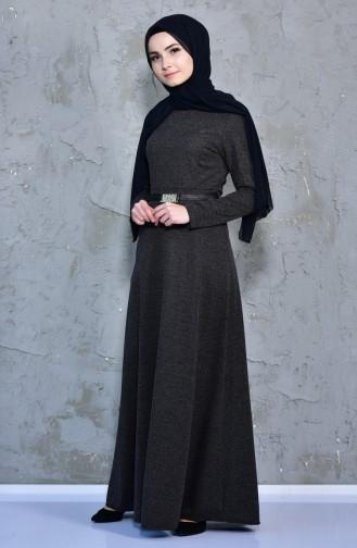 Kemer Detaylı Elbise 7128A-01 Siyah