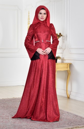 Claret red Islamic Clothing Evening Dress 8008-02
