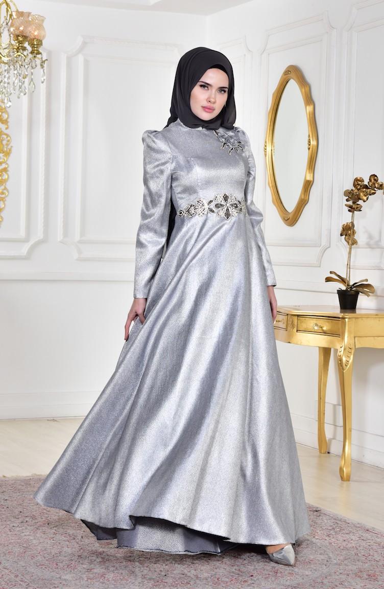 1e56b6848e44c Stone Evening Dress 8000-01 Gray 8000-01