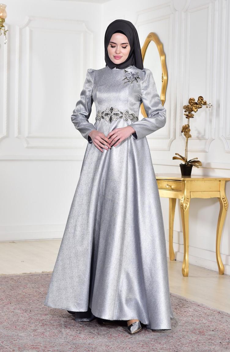 7d5a95b8ae6c4 فستان بتصميم مُطبع باحجار لامعة 8000-01 لون رمادي 8000-01