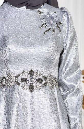 Taşlı Abiye Elbise 8000-01 Gri 8000-01