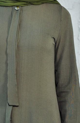 Gizli Düğmeli Büzgülü Tunik 2002-01 Haki 2002-01