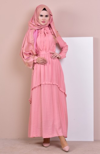 بورون فستان بتصميم ياقة برباط 81629-03 لون زهري 81629-03