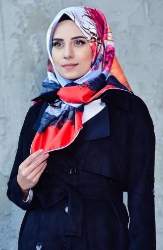 Sarar Desenli Eşarp 7010-05 Kırmızı