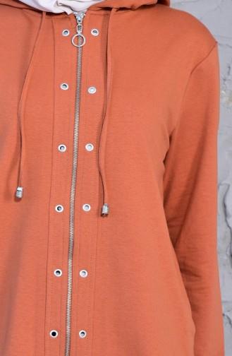 Fermuarlı Sweatshirt 0003-05 Taba