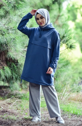 Spor Sweatshirt 0006-03 İndigo