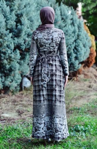 فستان بتصميم مُطبع2032-01 لون بُني 2032-01