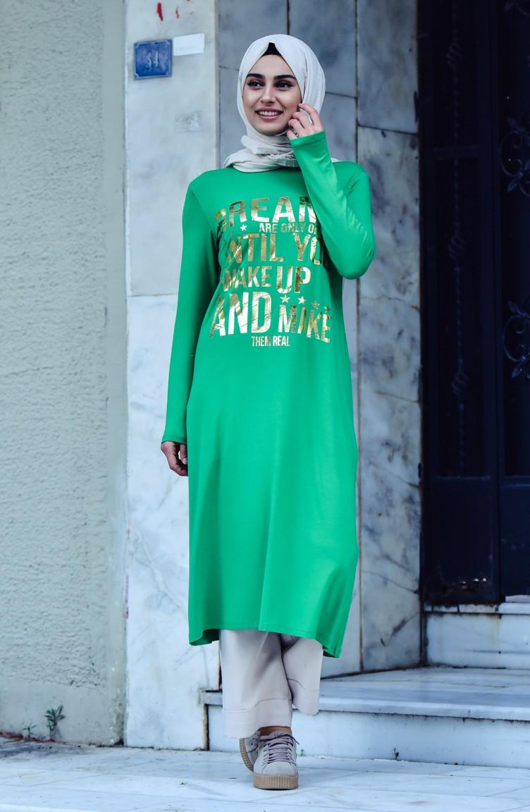 793935b6ae2 Printed Long Tunic 1458-08 Green 1458-08