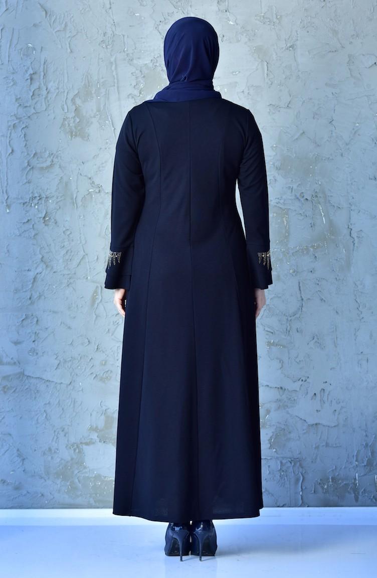 782082a68b48e Büyük Beden Taş Baskılı Elbise 1033-02 Lacivert