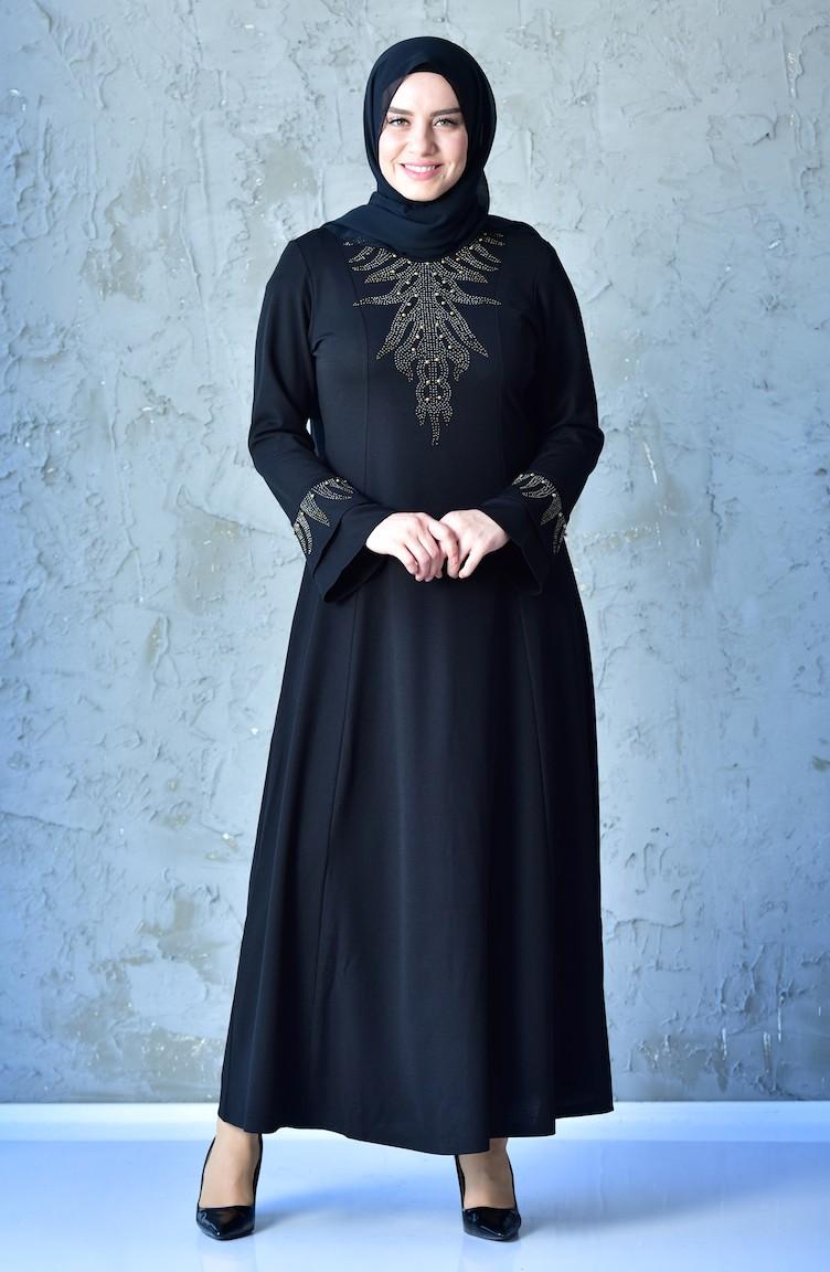 4cd544de61c2d Büyük Beden Taş Baskılı Elbise 1033-06 Siyah
