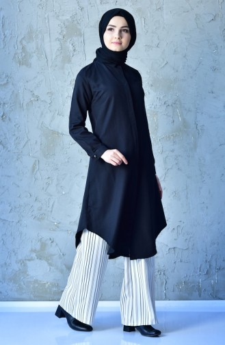 Hidden Button Long Tunic 1253-01 Black 1253-01