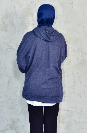بلوز رياضي بتصميم موصول بقبعة 9019A-05 لون كحلي فاتح 9019A-05