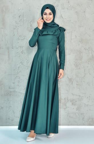 Ruffle Detail Dress 7203-01 Emerald Green 7203-01