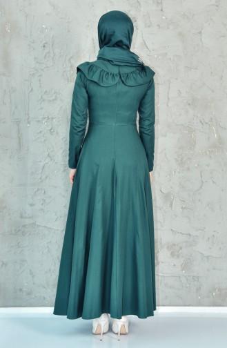 فستان بتفاصيل من الكشكش 7203-01 لون اخضر زُمردي 7203-01