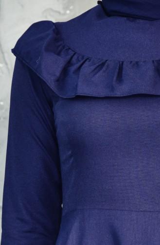 فستان بتفاصيل من الكشكش 7203-03 لون كحلي 7203-03