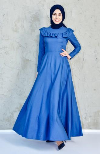 فستان بتفاصيل من الكشكش 7203-05 لون نيلي 7203-05