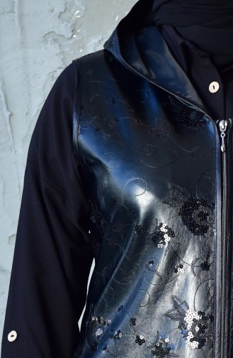 Large Size Sequined Leather Vest 4759-01 Black 4759-01