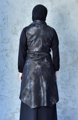 Large Size Leather Detailed Vest 4762A-01 Black 4762A-01