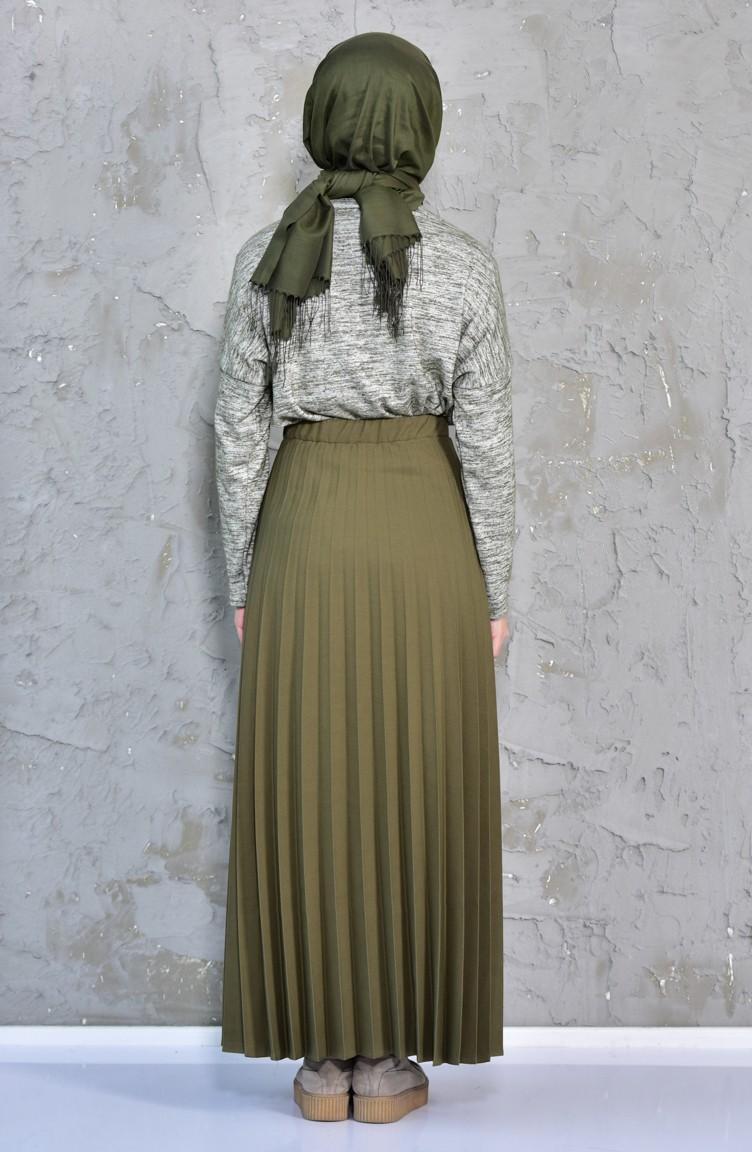 60807a153f993a Pleated Skirt 3100-03 Khaki 3100-03