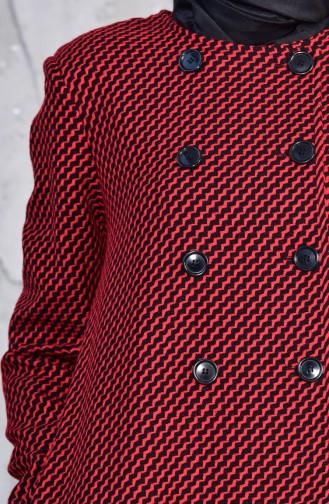 توبانور كاب صوف بتصميم مُطبع 3038-02 لون احمر 3038-02