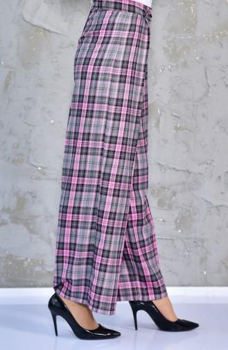 Ekose Pantolon 7214A-01 Gri Pembe