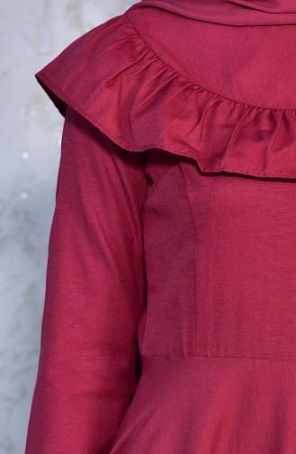 Robe Détail Froufrous 7203-02 Bordeaux 7203-02
