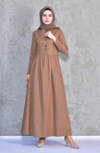 Önü Nervürlü Elbise 7215-01 Camel 7215-01